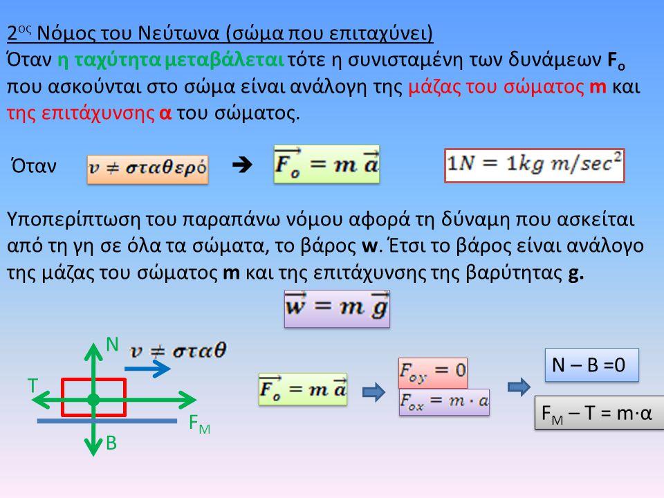 2 ος Νόμος του Νεύτωνα (σώμα που επιταχύνει) Όταν η ταχύτητα μεταβάλεται τότε η συνισταμένη των δυνάμεων F o που ασκούνται στο σώμα είναι ανάλογη της