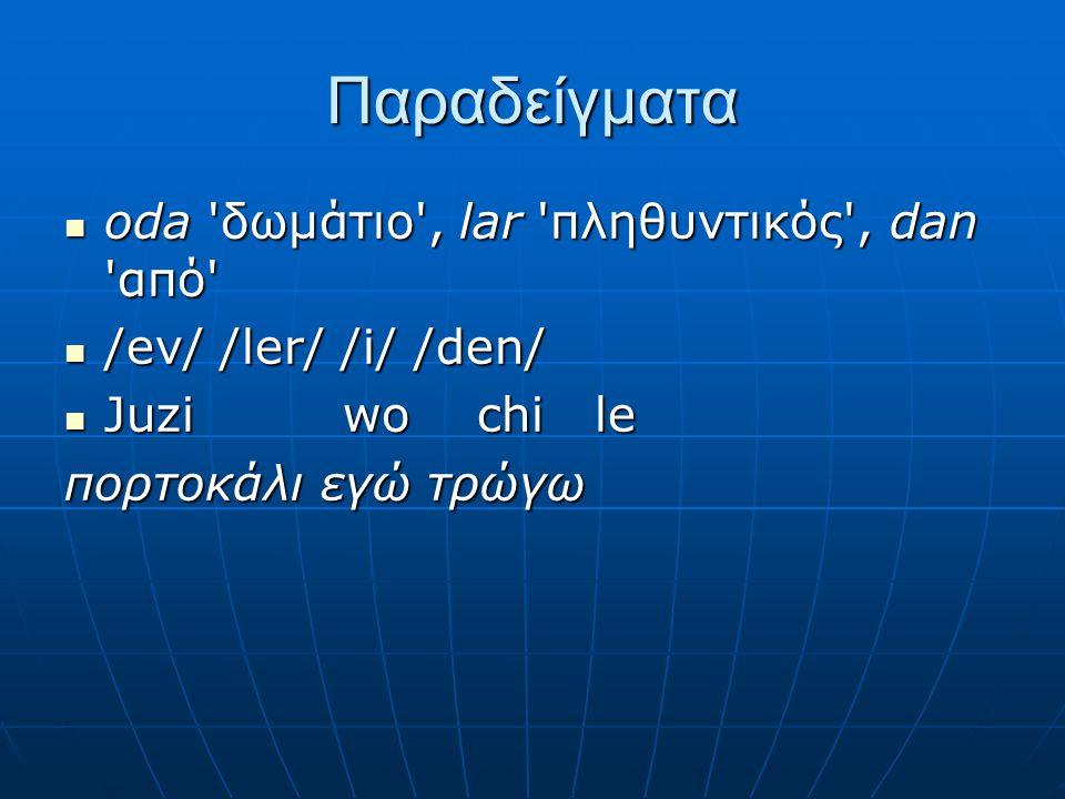 Παραδείγματα oda 'δωμάτιο', lar 'πληθυντικός', dan 'από' oda 'δωμάτιο', lar 'πληθυντικός', dan 'από' /ev/ /ler/ /i/ /den/ /ev/ /ler/ /i/ /den/ Juzi wo