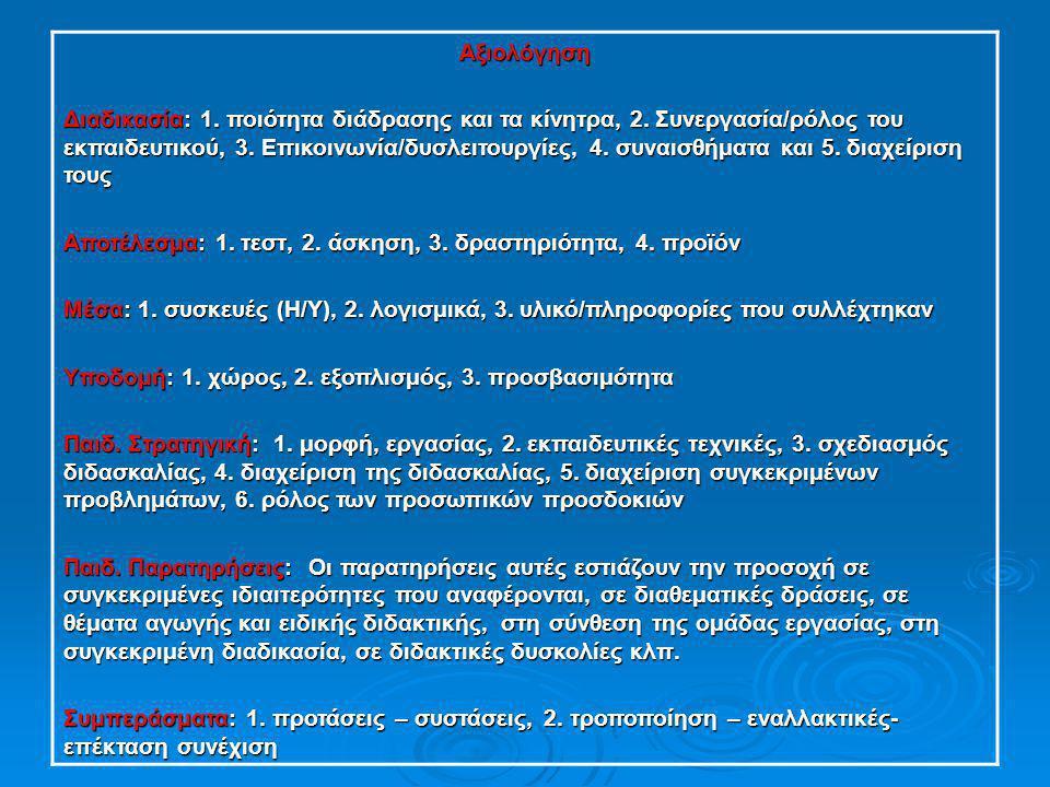 Αξιολόγηση Διαδικασία: 1. ποιότητα διάδρασης και τα κίνητρα, 2. Συνεργασία/ρόλος του εκπαιδευτικού, 3. Επικοινωνία/δυσλειτουργίες, 4. συναισθήματα και