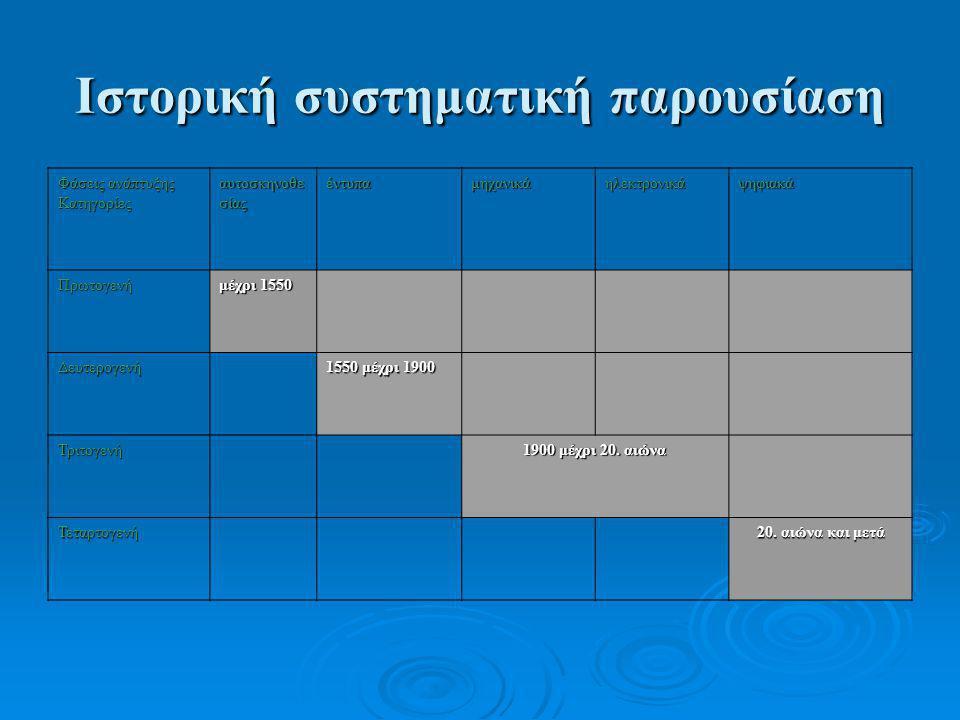 Ιστορική συστηματική παρουσίαση Φάσεις ανάπτυξης Κατηγορίες αυτοσκηνοθε σίας έντυπαμηχανικάηλεκτρονικάψηφιακά Πρωτογενή μέχρι 1550 Δευτερογενή 1550 μέ
