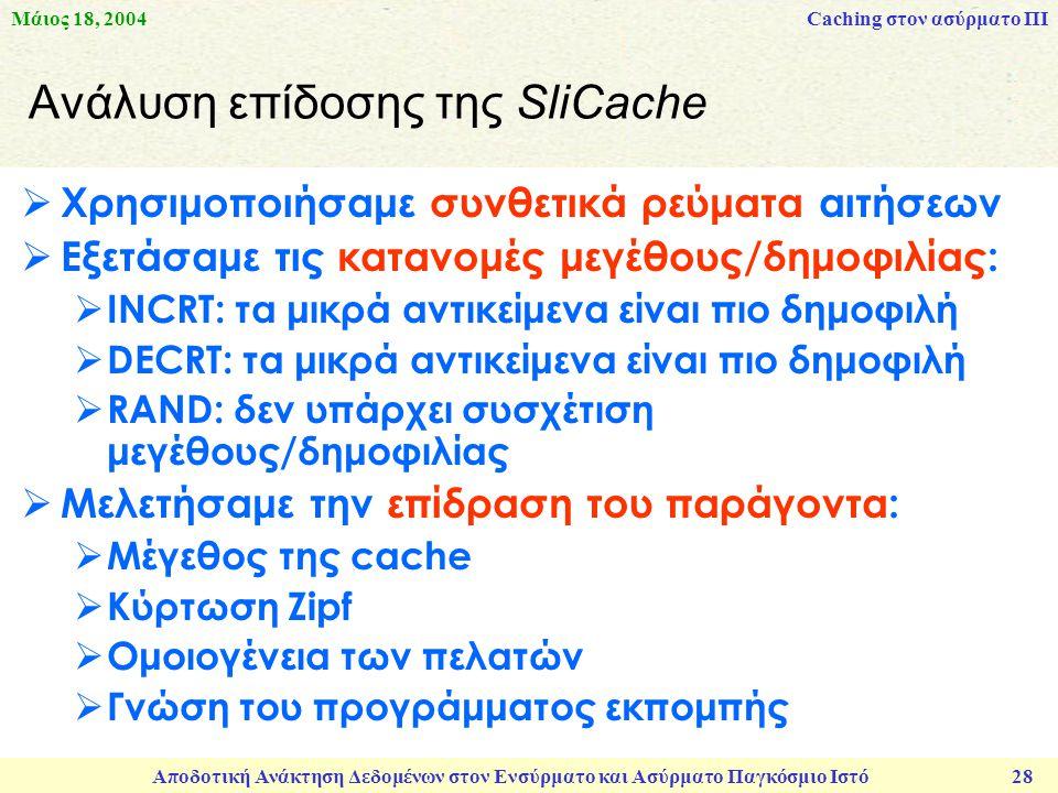 Μάιος 18, 2004 Αποδοτική Ανάκτηση Δεδομένων στον Ενσύρματο και Ασύρματο Παγκόσμιο Ιστό 28 Aνάλυση επίδοσης της SliCache  Χρησιμοποιήσαμε συνθετικά ρεύματα αιτήσεων  Εξετάσαμε τις κατανομές μεγέθους/δημοφιλίας:  INCRT: τα μικρά αντικείμενα είναι πιο δημοφιλή  DECRT: τα μικρά αντικείμενα είναι πιο δημοφιλή  RAND: δεν υπάρχει συσχέτιση μεγέθους/δημοφιλίας  Μελετήσαμε την επίδραση του παράγοντα:  Μέγεθος της cache  Κύρτωση Zipf  Ομοιογένεια των πελατών  Γνώση του προγράμματος εκπομπής Caching στον ασύρματο ΠΙ