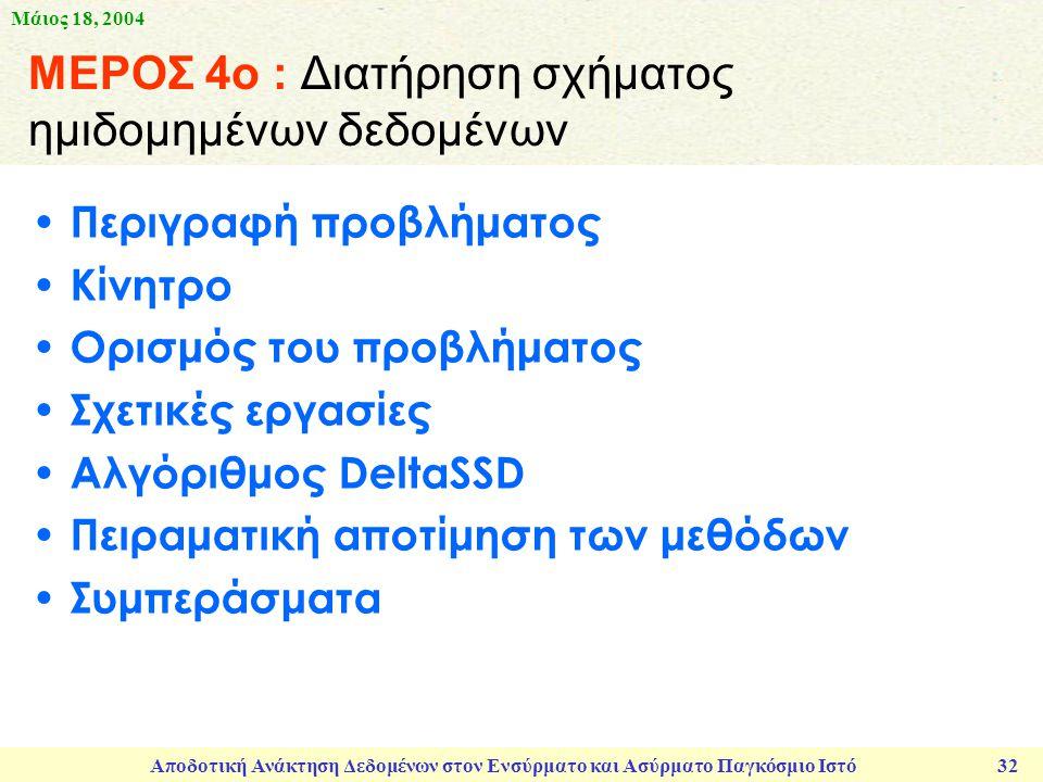 Μάιος 18, 2004 Αποδοτική Ανάκτηση Δεδομένων στον Ενσύρματο και Ασύρματο Παγκόσμιο Ιστό 32 ΜΕΡΟΣ 4ο : Διατήρηση σχήματος ημιδομημένων δεδομένων Περιγραφή προβλήματος Κίνητρο Ορισμός του προβλήματος Σχετικές εργασίες Αλγόριθμος DeltaSSD Πειραματική αποτίμηση των μεθόδων Συμπεράσματα