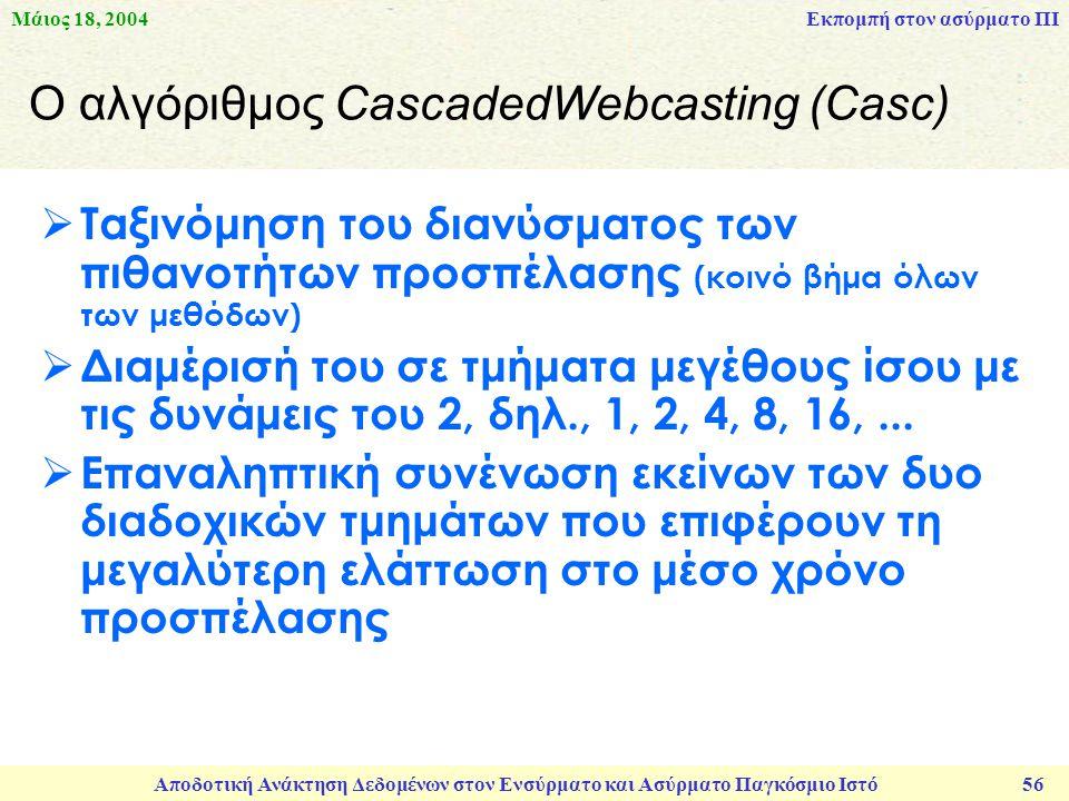 Μάιος 18, 2004 Αποδοτική Ανάκτηση Δεδομένων στον Ενσύρματο και Ασύρματο Παγκόσμιο Ιστό 56 Ο αλγόριθμος CascadedWebcasting (Casc)  Ταξινόμηση του διανύσματος των πιθανοτήτων προσπέλασης (κοινό βήμα όλων των μεθόδων)  Διαμέρισή του σε τμήματα μεγέθους ίσου με τις δυνάμεις του 2, δηλ., 1, 2, 4, 8, 16,...