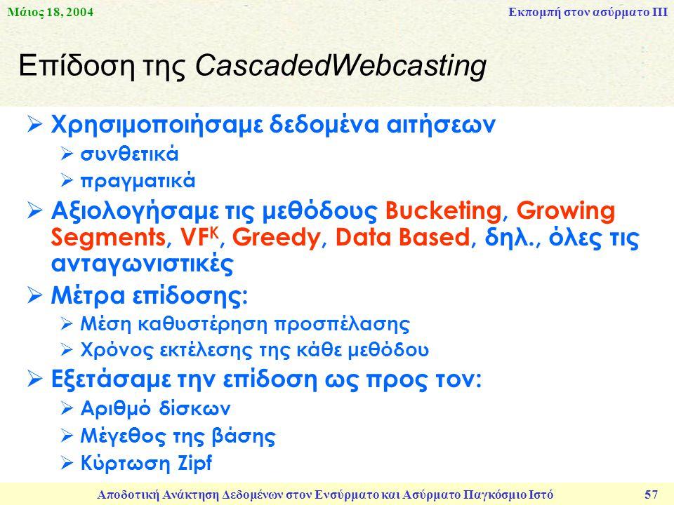 Μάιος 18, 2004 Αποδοτική Ανάκτηση Δεδομένων στον Ενσύρματο και Ασύρματο Παγκόσμιο Ιστό 57 Επίδοση της CascadedWebcasting  Χρησιμοποιήσαμε δεδομένα αιτήσεων  συνθετικά  πραγματικά  Αξιολογήσαμε τις μεθόδους Bucketing, Growing Segments, VF K, Greedy, Data Based, δηλ., όλες τις ανταγωνιστικές  Μέτρα επίδοσης:  Μέση καθυστέρηση προσπέλασης  Χρόνος εκτέλεσης της κάθε μεθόδου  Εξετάσαμε την επίδοση ως προς τον:  Αριθμό δίσκων  Μέγεθος της βάσης  Κύρτωση Zipf Εκπομπή στον ασύρματο ΠΙ