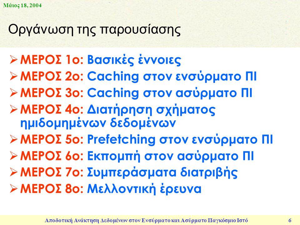 Μάιος 18, 2004 Αποδοτική Ανάκτηση Δεδομένων στον Ενσύρματο και Ασύρματο Παγκόσμιο Ιστό 6  ΜΕΡΟΣ 1ο: Βασικές έννοιες  ΜΕΡΟΣ 2ο: Caching στον ενσύρματο ΠΙ  ΜΕΡΟΣ 3ο: Caching στον ασύρματο ΠΙ  ΜΕΡΟΣ 4ο: Διατήρηση σχήματος ημιδομημένων δεδομένων  ΜΕΡΟΣ 5ο: Prefetching στον ενσύρματο ΠΙ  ΜΕΡΟΣ 6ο: Εκπομπή στον ασύρματο ΠΙ  ΜΕΡΟΣ 7ο: Συμπεράσματα διατριβής  ΜΕΡΟΣ 8ο: Μελλοντική έρευνα Οργάνωση της παρουσίασης