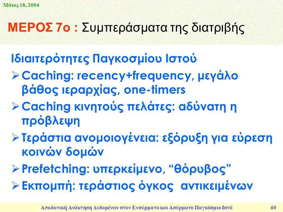 Μάιος 18, 2004 Αποδοτική Ανάκτηση Δεδομένων στον Ενσύρματο και Ασύρματο Παγκόσμιο Ιστό 60 ΜΕΡΟΣ 7ο : Συμπεράσματα της διατριβής Ιδιαιτερότητες Παγκοσμίου Ιστού  Caching: recency+frequency, μεγάλο βάθος ιεραρχίας, one-timers  Caching κινητούς πελάτες: αδύνατη η πρόβλεψη  Τεράστια ανομοιογένεια: εξόρυξη για εύρεση κοινών δομών  Prefetching: υπερκείμενο, θόρυβος  Εκπομπή: τεράστιος όγκος αντικειμένων