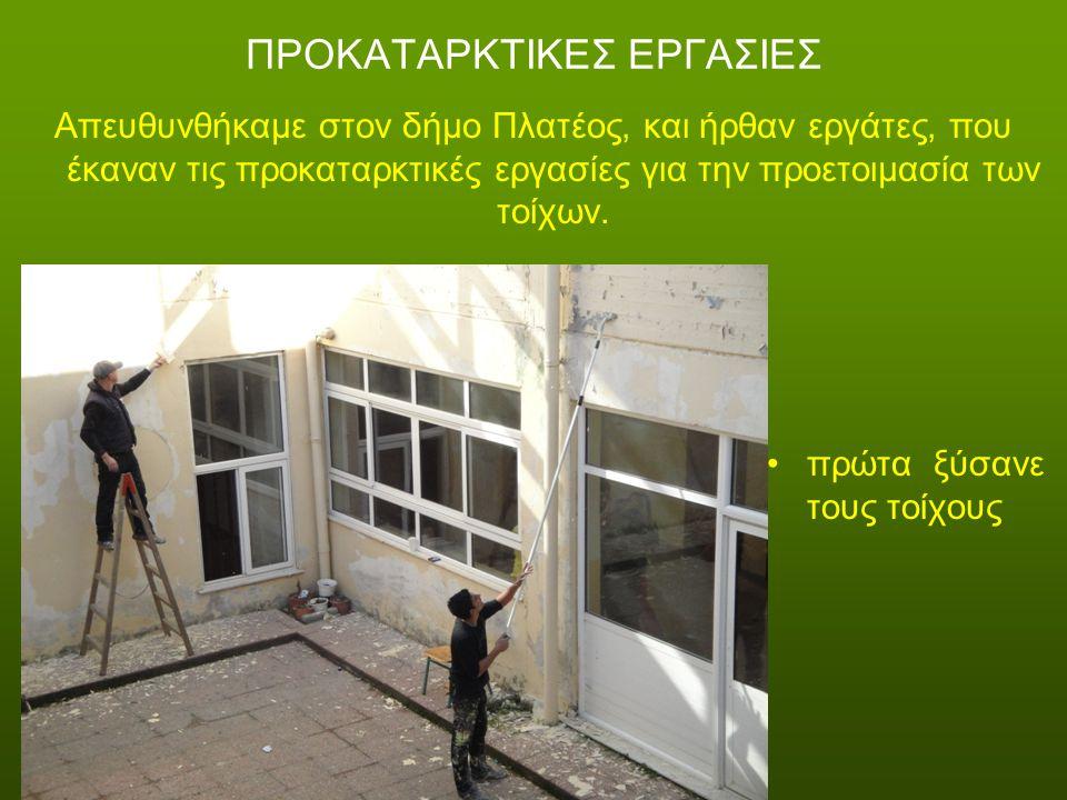 ΠΡΟΚΑΤΑΡΚΤΙΚΕΣ ΕΡΓΑΣΙΕΣ Απευθυνθήκαμε στον δήμο Πλατέος, και ήρθαν εργάτες, που έκαναν τις προκαταρκτικές εργασίες για την προετοιμασία των τοίχων.