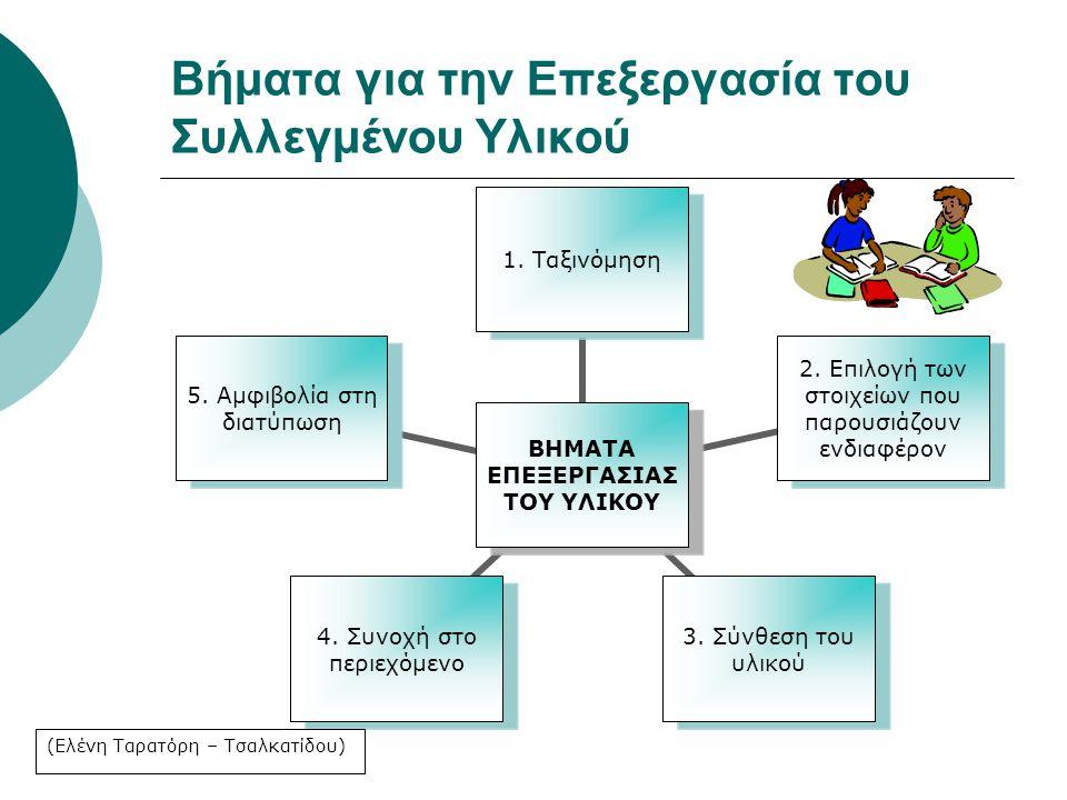 Βήματα για την Επεξεργασία του Συλλεγμένου Υλικού ΒΗΜΑΤΑ ΕΠΕΞΕΡΓΑΣΙΑΣ ΤΟΥ ΥΛΙΚΟΥ 1. Ταξινόμηση 2. Επιλογή των στοιχείων που παρουσιάζουν ενδιαφέρον 3.
