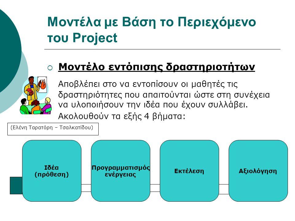 Μοντέλα με Βάση το Περιεχόμενο του Project  Μοντέλο εντόπισης δραστηριοτήτων Αποβλέπει στο να εντοπίσουν οι μαθητές τις δραστηριότητες που απαιτούντα