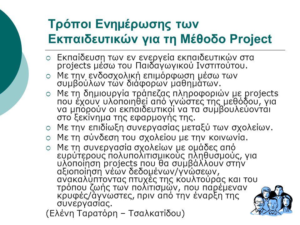 Τρόποι Ενημέρωσης των Εκπαιδευτικών για τη Μέθοδο Project  Εκπαίδευση των εν ενεργεία εκπαιδευτικών στα projects μέσω του Παιδαγωγικού Ινστιτούτου. 