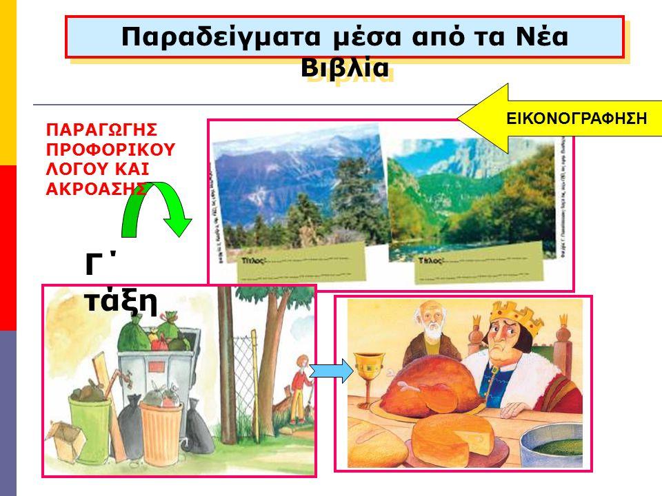 ΠΑΡΑΓΩΓΗΣ ΠΡΟΦΟΡΙΚΟΥ ΛΟΓΟΥ ΚΑΙ ΑΚΡΟΑΣΗΣ Παραδείγματα μέσα από τα Νέα Βιβλία Γ΄ τάξη ΕΙΚΟΝΟΓΡΑΦΗΣΗ