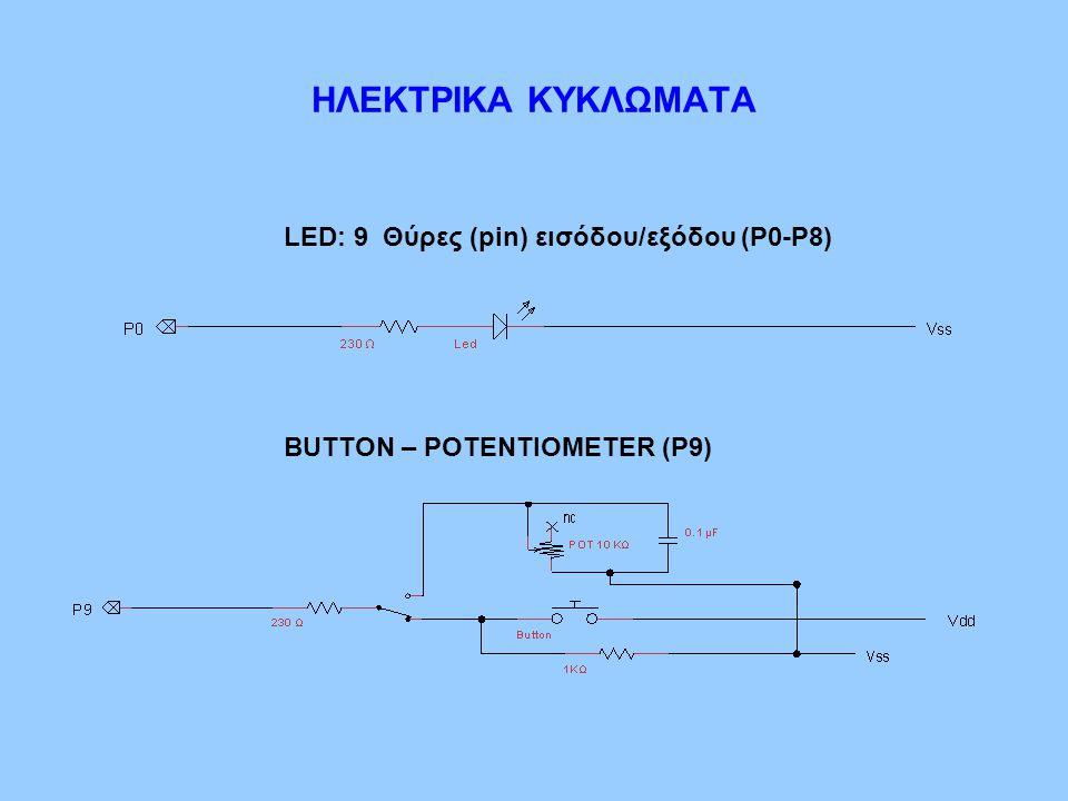 LED: 9 Θύρες (pin) εισόδου/εξόδου (Ρ0-Ρ8) BUTTON – POTENTIOMETER (P9) ΗΛΕΚΤΡΙΚΑ ΚΥΚΛΩΜΑΤΑ