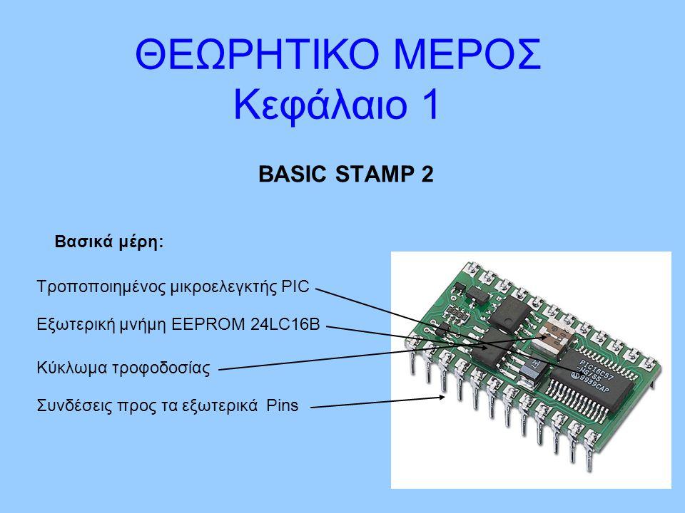 BASIC STAMP 2 Βασικά μέρη: ΘΕΩΡΗΤΙΚΟ ΜΕΡΟΣ Κεφάλαιο 1 Τροποποιημένος μικροελεγκτής PIC Συνδέσεις προς τα εξωτερικά Pins Κύκλωμα τροφοδοσίας Εξωτερική