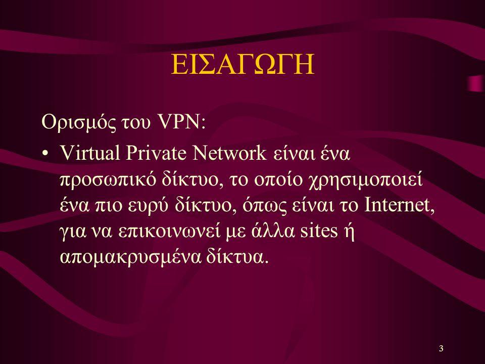 3 ΕΙΣΑΓΩΓΗ Ορισμός του VPN: Virtual Private Network είναι ένα προσωπικό δίκτυο, το οποίο χρησιμοποιεί ένα πιο ευρύ δίκτυο, όπως είναι το Internet, για