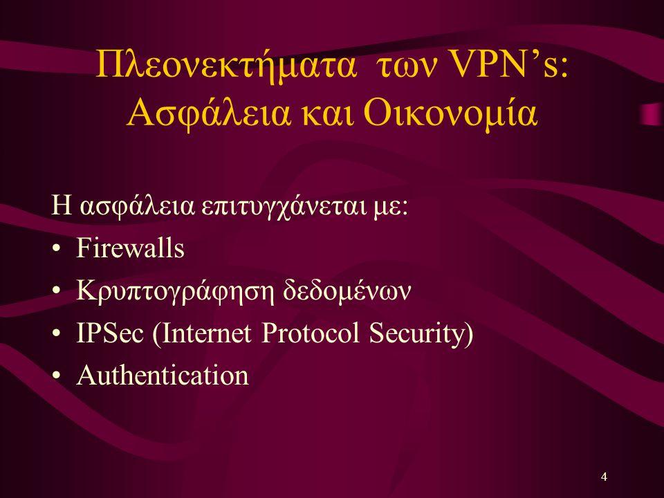 4 Πλεονεκτήματα των VPN's: Aσφάλεια και Οικονομία Η ασφάλεια επιτυγχάνεται με: Firewalls Κρυπτογράφηση δεδομένων IPSec (Internet Protocol Security) Au