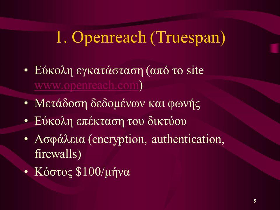 5 1. Openreach (Truespan) Εύκολη εγκατάσταση (από το site www.openreach.com) www.openreach.com Μετάδοση δεδομένων και φωνής Εύκολη επέκταση του δικτύο
