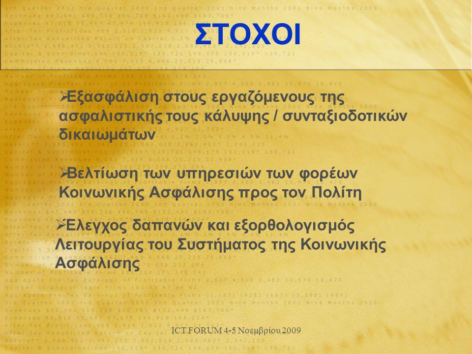 ICT FORUM 4-5 Νοεμβρίου 2009 ΣΤΟΧΟΙ  Εξασφάλιση στους εργαζόμενους της ασφαλιστικής τους κάλυψης / συνταξιοδοτικών δικαιωμάτων  Βελτίωση των υπηρεσιών των φορέων Κοινωνικής Ασφάλισης προς τον Πολίτη  Έλεγχος δαπανών και εξορθολογισμός Λειτουργίας του Συστήματος της Κοινωνικής Ασφάλισης