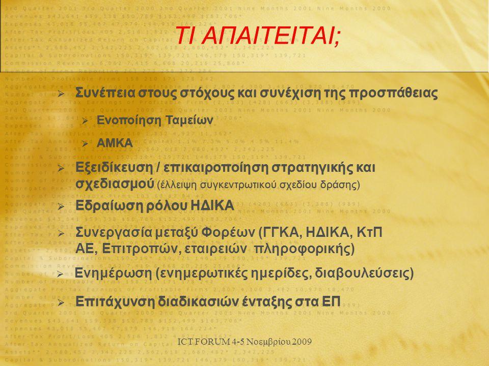 ICT FORUM 4-5 Νοεμβρίου 2009 ΤΙ ΑΠΑΙΤΕΙΤΑΙ;  Επιτάχυνση διαδικασιών ένταξης στα ΕΠ  Συνέπεια στους στόχους και συνέχιση της προσπάθειας  Eνοποίηση Ταμείων  ΑΜΚΑ  Εξειδίκευση / επικαιροποίηση στρατηγικής και σχεδιασμού (έλλειψη συγκεντρωτικού σχεδίου δράσης)  Εδραίωση ρόλου ΗΔΙΚΑ  Ενημέρωση (ενημερωτικές ημερίδες, διαβουλεύσεις)  Συνεργασία μεταξύ Φορέων (ΓΓΚΑ, ΗΔΙΚΑ, ΚτΠ ΑΕ, Επιτροπών, εταιρειών πληροφορικής)