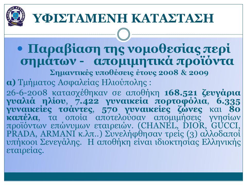 YΦΙΣΤΑΜΕΝΗ ΚΑΤΑΣΤΑΣΗ Παραβίαση της νομοθεσίας περί σημάτων - απομιμητικά προϊόντα Σημαντικές υποθέσεις έτους 2008 & 2009 α) Τμήματος Ασφαλείας Ηλιούπολης : 26-6-2008 κατασχέθηκαν σε αποθήκη 168.521 ζευγάρια γυαλιά ηλίου, 7.422 γυναικεία πορτοφόλια, 6.335 γυναικείες τσάντες, 570 γυναικείες ζώνες και 80 καπέλα, τα οποία αποτελούσαν απομιμήσεις γνησίων προϊόντων επώνυμων εταιρειών.