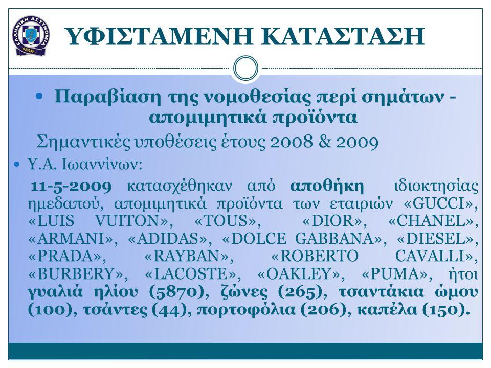 YΦΙΣΤΑΜΕΝΗ ΚΑΤΑΣΤΑΣΗ Παραβίαση της νομοθεσίας περί σημάτων - απομιμητικά προϊόντα Σημαντικές υποθέσεις έτους 2008 & 2009 Υ.Α. Ιωαννίνων: 11-5-2009 κατ