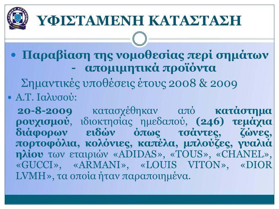 YΦΙΣΤΑΜΕΝΗ ΚΑΤΑΣΤΑΣΗ Παραβίαση της νομοθεσίας περί σημάτων - απομιμητικά προϊόντα Σημαντικές υποθέσεις έτους 2008 & 2009 Α.Τ. Ιαλυσού: 20-8-2009 κατασ