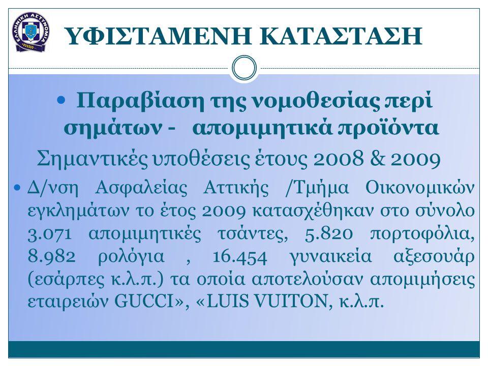 YΦΙΣΤΑΜΕΝΗ ΚΑΤΑΣΤΑΣΗ Παραβίαση της νομοθεσίας περί σημάτων - απομιμητικά προϊόντα Σημαντικές υποθέσεις έτους 2008 & 2009 Δ/νση Ασφαλείας Αττικής /Τμήμα Οικονομικών εγκλημάτων το έτος 2009 κατασχέθηκαν στο σύνολο 3.071 απομιμητικές τσάντες, 5.820 πορτοφόλια, 8.982 ρολόγια, 16.454 γυναικεία αξεσουάρ (εσάρπες κ.λ.π.) τα οποία αποτελούσαν απομιμήσεις εταιρειών GUCCI», «LUIS VUITON, κ.λ.π.