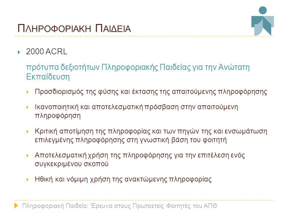 Π ΛΗΡΟΦΟΡΙΑΚΗ Π ΑΙΔΕΙΑ  2000 ACRL πρότυπα δεξιοτήτων Πληροφοριακής Παιδείας για την Ανώτατη Εκπαίδευση  Προσδιορισμός της φύσης και έκτασης της απαιτούμενης πληροφόρησης  Ικανοποιητική και αποτελεσματική πρόσβαση στην απαιτούμενη πληροφόρηση  Κριτική αποτίμηση της πληροφορίας και των πηγών της και ενσωμάτωση επιλεγμένης πληροφόρησης στη γνωστική βάση του φοιτητή  Αποτελεσματική χρήση της πληροφόρησης για την επιτέλεση ενός συγκεκριμένου σκοπού  Ηθική και νόμιμη χρήση της ανακτώμενης πληροφορίας Πληροφοριακή Παιδεία: Έρευνα στους Πρωτοετείς Φοιτητές του ΑΠΘ