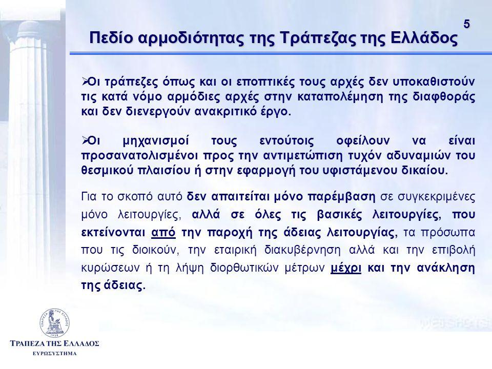 51 Πεδίο αρμοδιότητας της Τράπεζας της Ελλάδος  Οι τράπεζες όπως και οι εποπτικές τους αρχές δεν υποκαθιστούν τις κατά νόμο αρμόδιες αρχές στην καταπολέμηση της διαφθοράς και δεν διενεργούν ανακριτικό έργο.