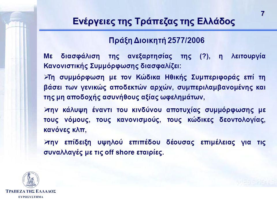 71 Ενέργειες της Τράπεζας της Ελλάδος Πράξη Διοικητή 2577/2006 Με διασφάλιση της ανεξαρτησίας της (?), η λειτουργία Κανονιστικής Συμμόρφωσης διασφαλίζει:  Τη συμμόρφωση με τον Κώδικα Ηθικής Συμπεριφοράς επί τη βάσει των γενικώς αποδεκτών αρχών, συμπεριλαμβανομένης και της μη αποδοχής ασυνήθους αξίας ωφελημάτων,  την κάλυψη έναντι του κινδύνου αποτυχίας συμμόρφωσης με τους νόμους, τους κανονισμούς, τους κώδικες δεοντολογίας, κανόνες κλπ,  την επίδειξη υψηλού επιπέδου δέουσας επιμέλειας για τις συναλλαγές με τις off shore εταιρίες.
