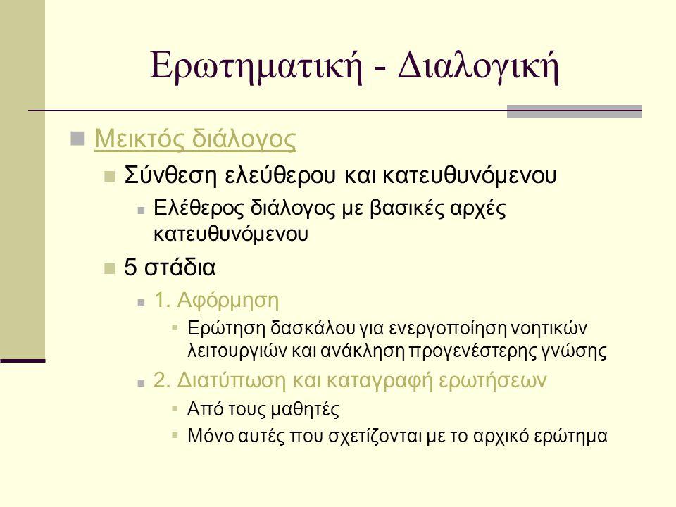 Ερωτηματική - Διαλογική Μεικτός διάλογος Σύνθεση ελεύθερου και κατευθυνόμενου Ελέθερος διάλογος με βασικές αρχές κατευθυνόμενου 5 στάδια 1. Αφόρμηση 