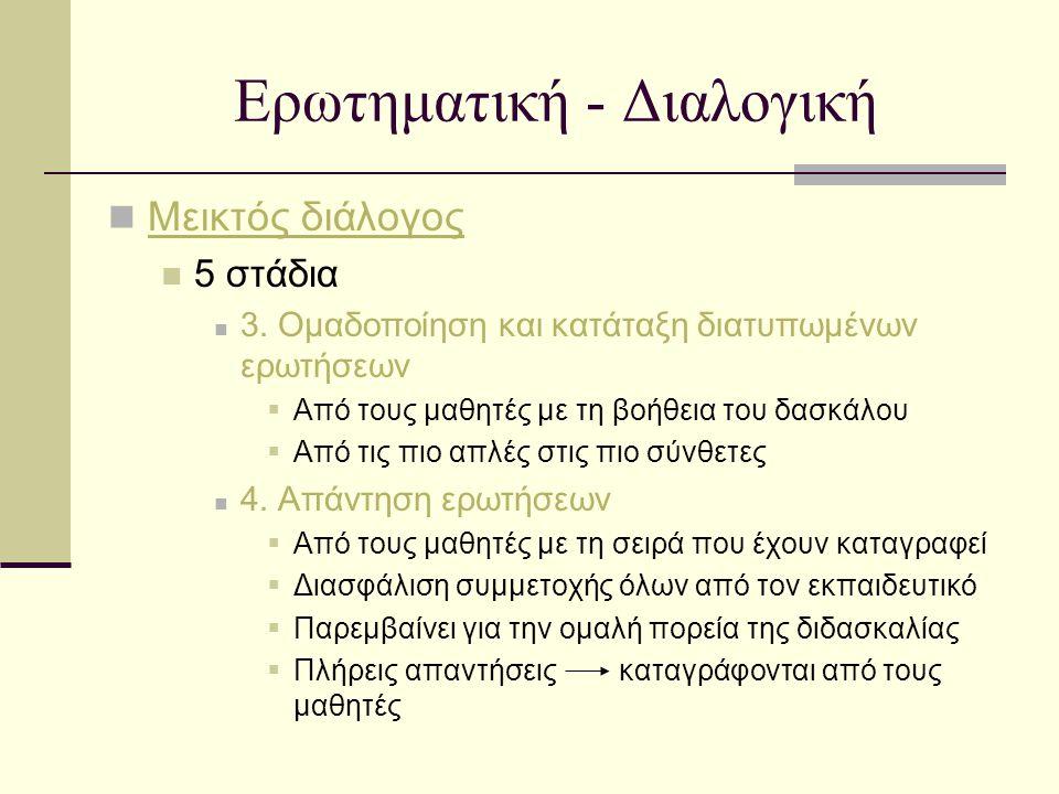 Ερωτηματική - Διαλογική Μεικτός διάλογος 5 στάδια 3. Ομαδοποίηση και κατάταξη διατυπωμένων ερωτήσεων  Από τους μαθητές με τη βοήθεια του δασκάλου  Α
