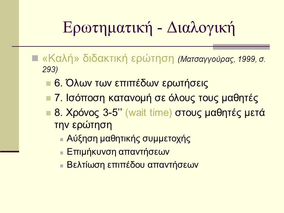 Ερωτηματική - Διαλογική «Καλή» διδακτική ερώτηση (Ματσαγγούρας, 1999, σ. 293) 6. Όλων των επιπέδων ερωτήσεις 7. Ισόποση κατανομή σε όλους τους μαθητές