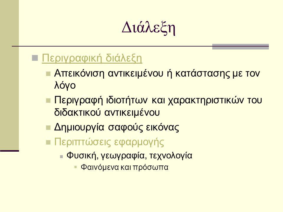 Διάλεξη Περιγραφική διάλεξη Απεικόνιση αντικειμένου ή κατάστασης με τον λόγο Περιγραφή ιδιοτήτων και χαρακτηριστικών του διδακτικού αντικειμένου Δημιο