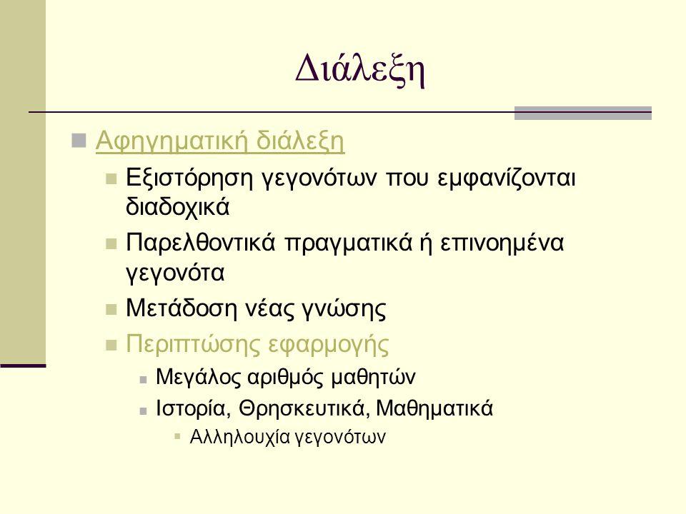 Ερωτηματική - Διαλογική «Καλή» διδακτική ερώτηση (Ματσαγγούρας, 1999, σ.