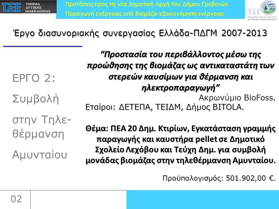 Προτάσεις προς τη νέα Δημοτική Αρχή του Δήμου Γρεβενών Παραγωγή ενέργειας από βιομάζα-εξοικονόμηση ενέργειας 02 ΕΡΓΟ 2: Συμβολή στην Τηλε- θέρμανση Αμυνταίου Προστασία του περιβάλλοντος μέσω της προώθησης της βιομάζας ως αντικαταστάτη των στερεών καυσίμων για θέρμανση και ηλεκτροπαραγωγή .