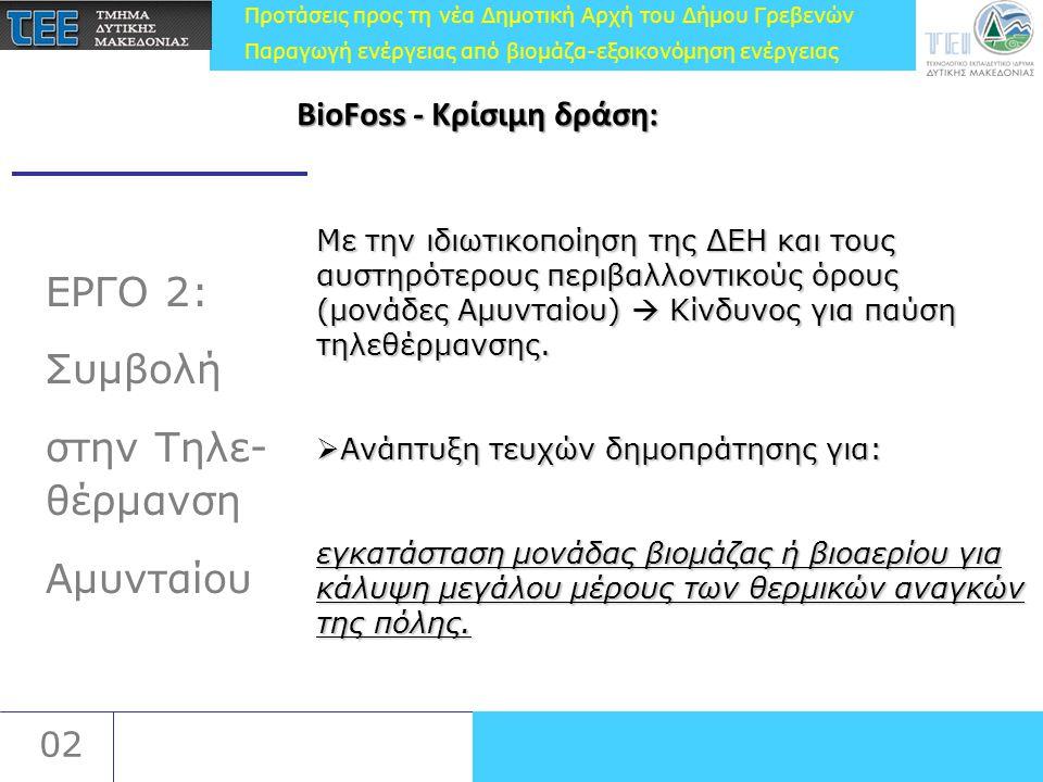 Προτάσεις προς τη νέα Δημοτική Αρχή του Δήμου Γρεβενών Παραγωγή ενέργειας από βιομάζα-εξοικονόμηση ενέργειας 02 ΕΡΓΟ 3: Πιλοτική μονάδα ΣΗΘ από βιοαέριο στα Γρεβενά Εταίροι: ΤΕΙΔΜ και ΤΕΕ/ΤΔΜ Εταίροι: ΤΕΙΔΜ και ΤΕΕ/ΤΔΜ Το Τμήμα Μηχανικής των Βιοδιεργασιών του Πολυτεχνείου του Βερολίνου, το Εθνικό Μετσόβιο Πολυτεχνείο, το Πολυτεχνείο Κωνσταντινούπολης, η ΔΙΑΔΥΜΑ ΑΕ, οι Ευρωσύμβουλοι ΑΕ, η ΜΚΟ ARCHAM Bitola.
