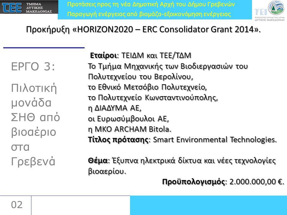 Προτάσεις προς τη νέα Δημοτική Αρχή του Δήμου Γρεβενών Παραγωγή ενέργειας από βιομάζα-εξοικονόμηση ενέργειας 02 ΕΡΓΟ 3: Πιλοτική μονάδα ΣΗΘ από βιοαέρ