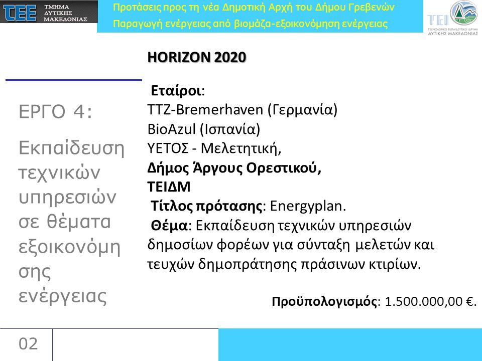 Προτάσεις προς τη νέα Δημοτική Αρχή του Δήμου Γρεβενών Παραγωγή ενέργειας από βιομάζα-εξοικονόμηση ενέργειας 02 ΕΡΓΟ 4: Εκπαίδευση τεχνικών υπηρεσιών σε θέματα εξοικονόμη σης ενέργειας Εταίροι: TTZ-Bremerhaven (Γερμανία) BioAzul (Ισπανία) ΥΕΤΟΣ - Μελετητική, Δήμος Άργους Ορεστικού, ΤΕΙΔΜ Τίτλος πρότασης: Energyplan.