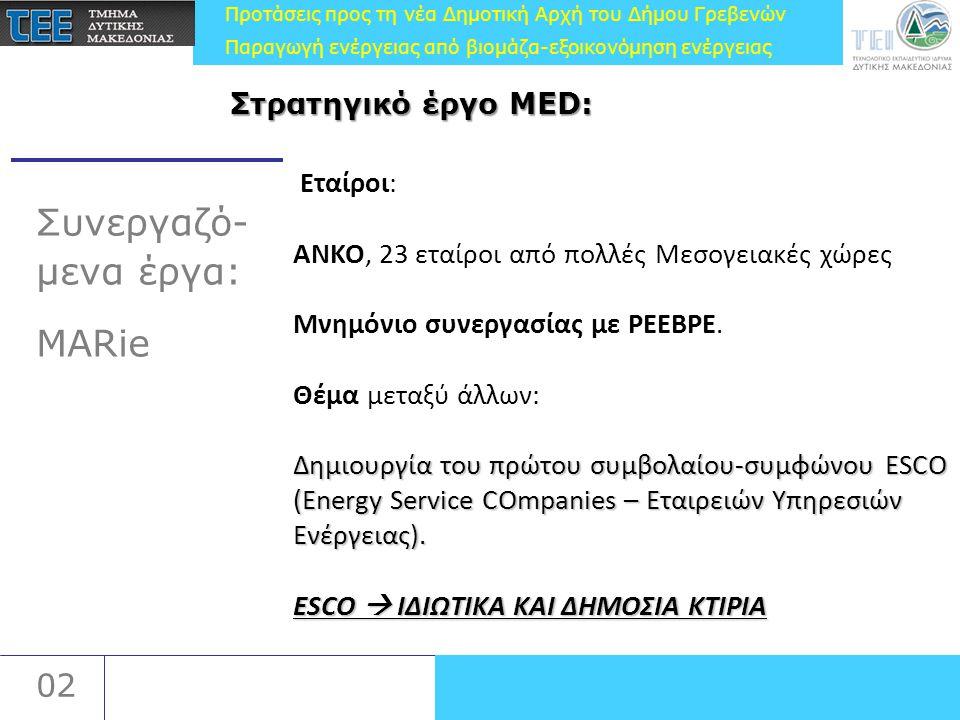 Προτάσεις προς τη νέα Δημοτική Αρχή του Δήμου Γρεβενών Παραγωγή ενέργειας από βιομάζα-εξοικονόμηση ενέργειας 02 Συνεργαζό- μενα έργα: MARie Εταίροι: ΑΝΚΟ, 23 εταίροι από πολλές Μεσογειακές χώρες Μνημόνιο συνεργασίας με PEEBPE.