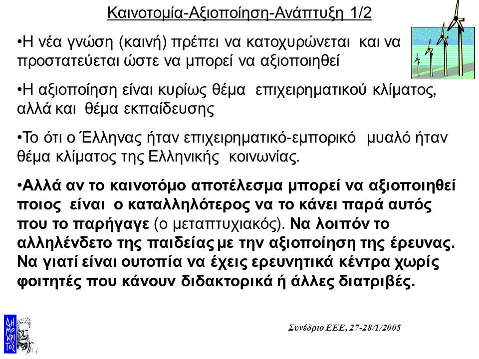 Συνέδριο ΕΕΕ, 27-28/1/2005 Καινοτομία-Αξιοποίηση-Ανάπτυξη 1/2 Η νέα γνώση (καινή) πρέπει να κατοχυρώνεται και να προστατεύεται ώστε να μπορεί να αξιοποιηθεί Η αξιοποίηση είναι κυρίως θέμα επιχειρηματικού κλίματος, αλλά και θέμα εκπαίδευσης Το ότι ο Έλληνας ήταν επιχειρηματικό-εμπορικό μυαλό ήταν θέμα κλίματος της Ελληνικής κοινωνίας.