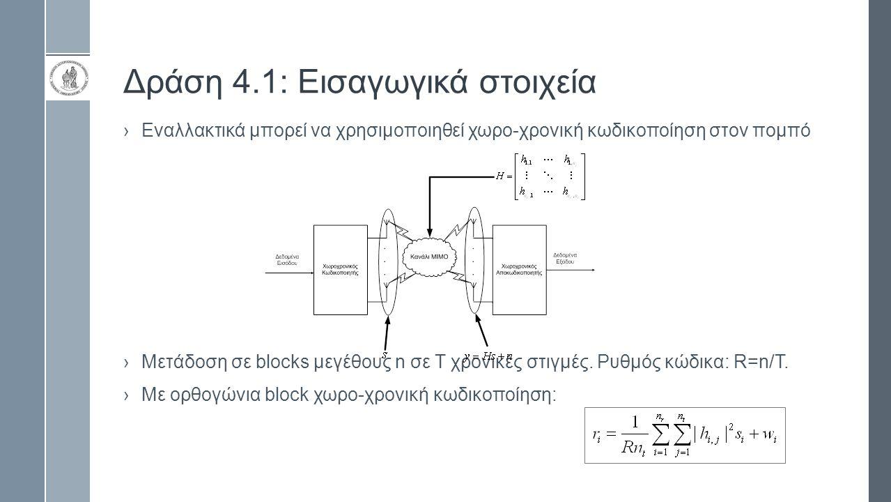 Δράση 4.1: Εισαγωγικά στοιχεία ›Εναλλακτικά μπορεί να χρησιμοποιηθεί χωρο-χρονική κωδικοποίηση στον πομπό ›Μετάδοση σε blocks μεγέθους n σε Τ χρονικές
