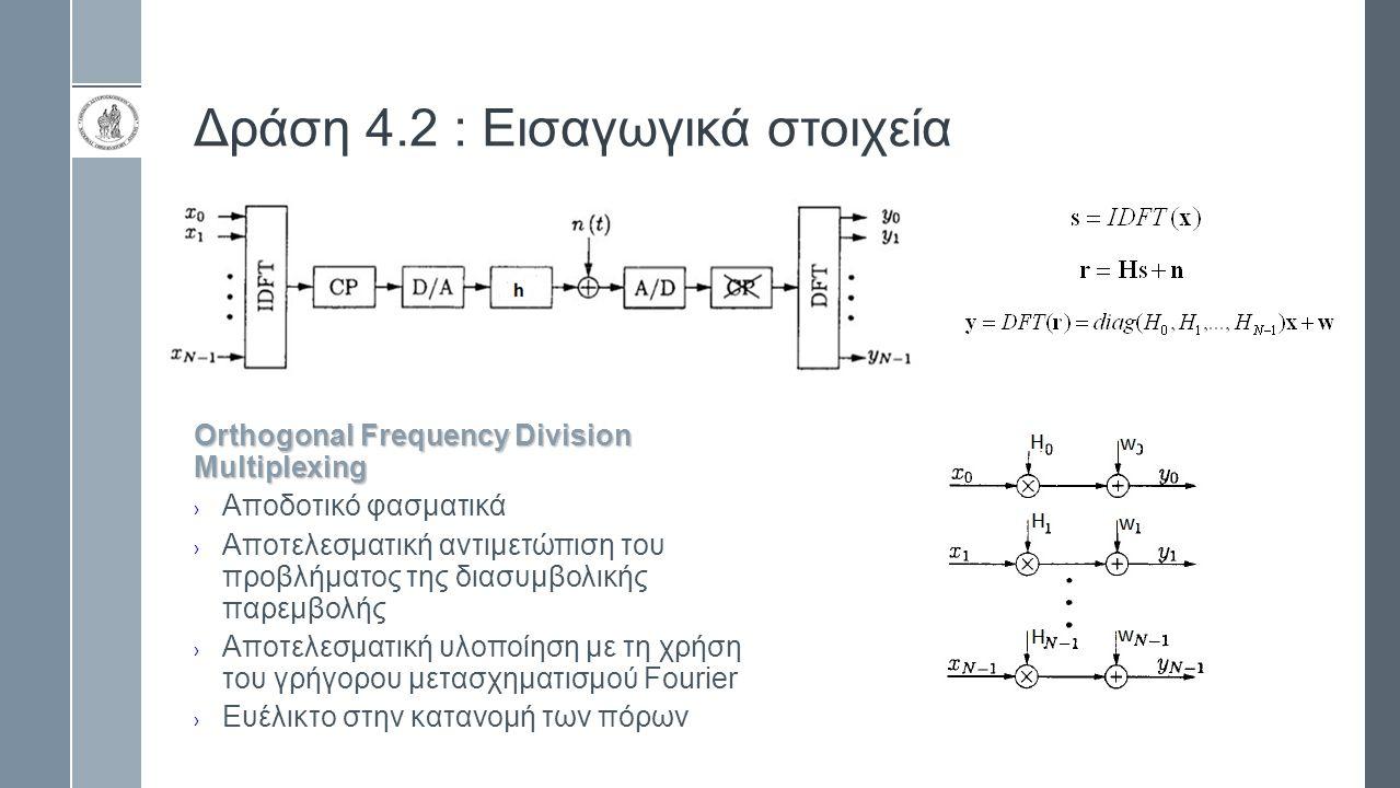 Δράση 4.2 : Εισαγωγικά στοιχεία Orthogonal Frequency Division Multiplexing › Αποδοτικό φασματικά › Αποτελεσματική αντιμετώπιση του προβλήματος της διασυμβολικής παρεμβολής › Αποτελεσματική υλοποίηση με τη χρήση του γρήγορου μετασχηματισμού Fourier › Ευέλικτο στην κατανομή των πόρων