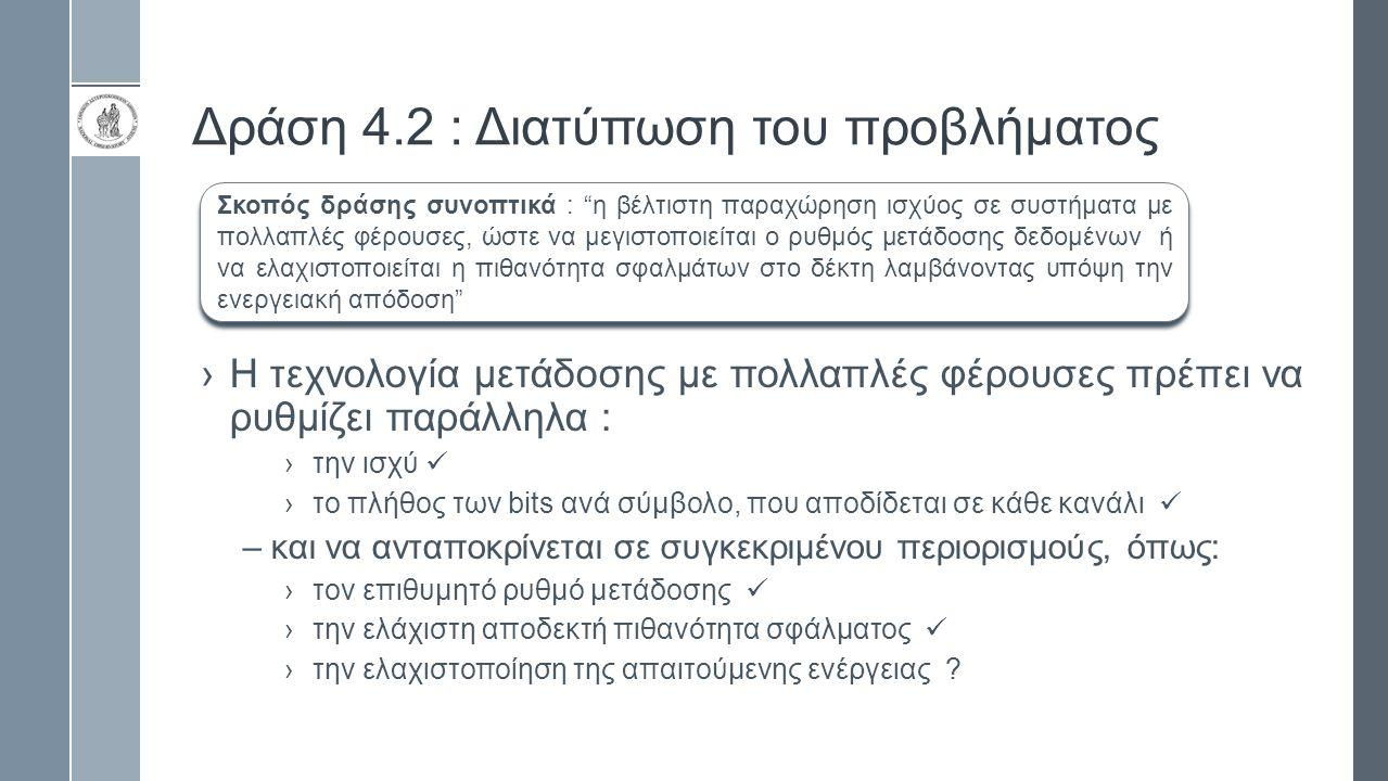 Δράση 4.2 : Διατύπωση του προβλήματος ›Η τεχνολογία μετάδοσης με πολλαπλές φέρουσες πρέπει να ρυθμίζει παράλληλα : ›την ισχύ ›το πλήθος των bits ανά σύμβολο, που αποδίδεται σε κάθε κανάλι –και να ανταποκρίνεται σε συγκεκριμένου περιορισμούς, όπως: ›τον επιθυμητό ρυθμό μετάδοσης ›την ελάχιστη αποδεκτή πιθανότητα σφάλματος ›την ελαχιστοποίηση της απαιτούμενης ενέργειας .