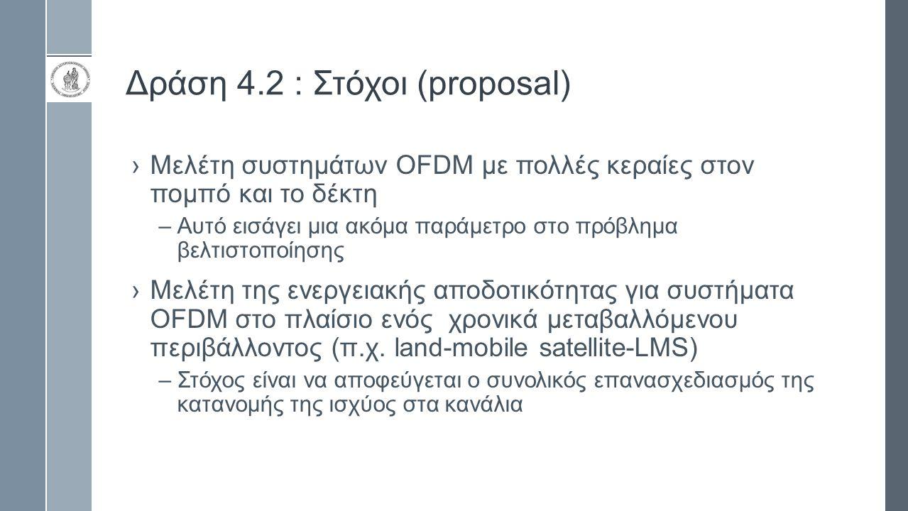 Δράση 4.2 : Στόχοι (proposal) ›Μελέτη συστημάτων OFDM με πολλές κεραίες στον πομπό και το δέκτη –Αυτό εισάγει μια ακόμα παράμετρο στο πρόβλημα βελτιστ