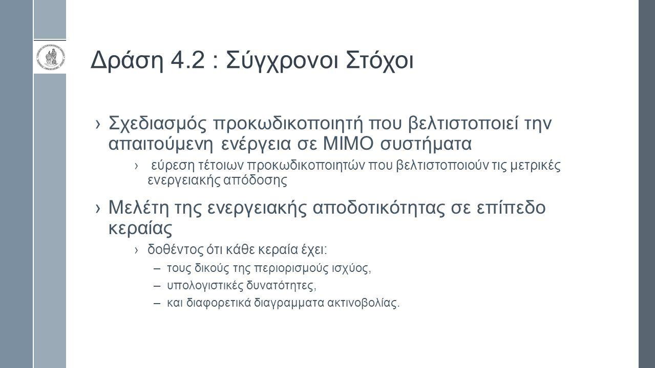 Δράση 4.2 : Σύγχρονοι Στόχοι ›Σχεδιασμός προκωδικοποιητή που βελτιστοποιεί την απαιτούμενη ενέργεια σε ΜΙΜΟ συστήματα › εύρεση τέτοιων προκωδικοποιητώ