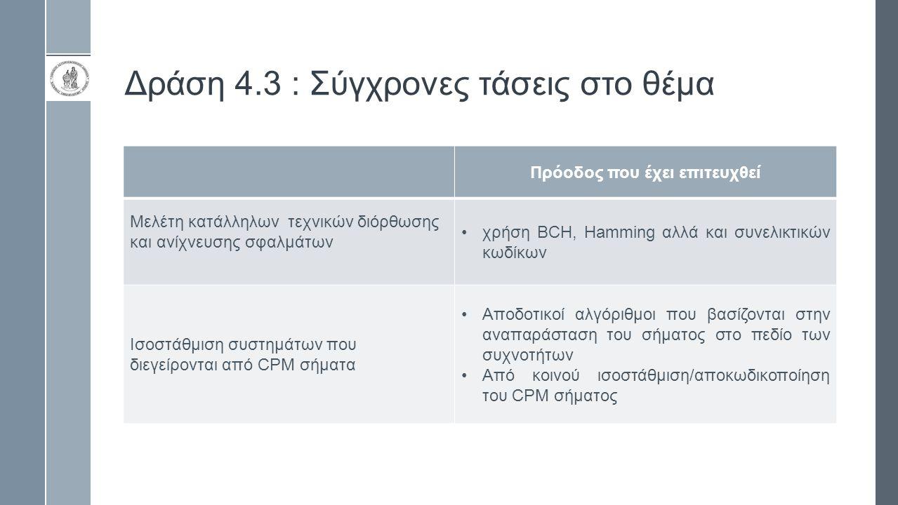 Δράση 4.3 : Σύγχρονες τάσεις στο θέμα Πρόοδος που έχει επιτευχθεί Μελέτη κατάλληλων τεχνικών διόρθωσης και ανίχνευσης σφαλμάτων χρήση BCH, Hamming αλλά και συνελικτικών κωδίκων Ισοστάθμιση συστημάτων που διεγείρονται από CPM σήματα Αποδοτικοί αλγόριθμοι που βασίζονται στην αναπαράσταση του σήματος στο πεδίο των συχνοτήτων Από κοινού ισοστάθμιση/αποκωδικοποίηση του CPM σήματος