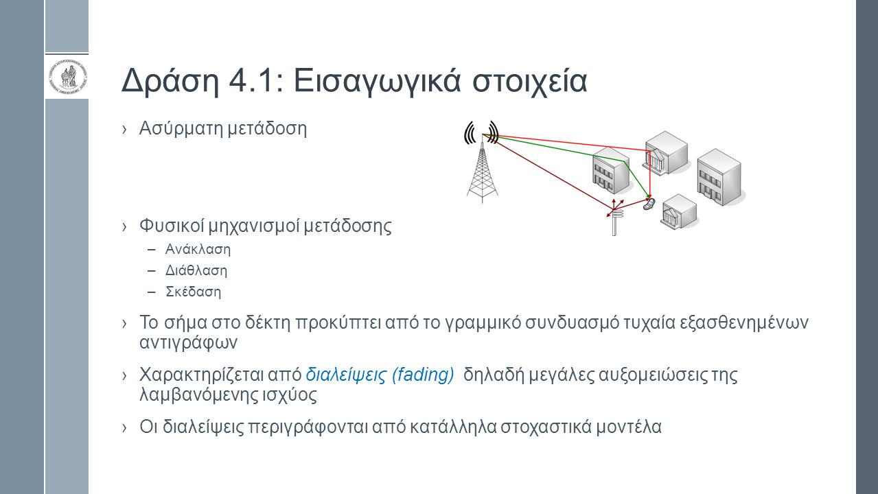 Δράση 4.1: Εισαγωγικά στοιχεία ›Ασύρματη μετάδοση ›Φυσικοί μηχανισμοί μετάδοσης –Ανάκλαση –Διάθλαση –Σκέδαση › Το σήμα στο δέκτη προκύπτει από το γραμμικό συνδυασμό τυχαία εξασθενημένων αντιγράφων › Χαρακτηρίζεται από διαλείψεις (fading) δηλαδή μεγάλες αυξομειώσεις της λαμβανόμενης ισχύος › Οι διαλείψεις περιγράφονται από κατάλληλα στοχαστικά μοντέλα