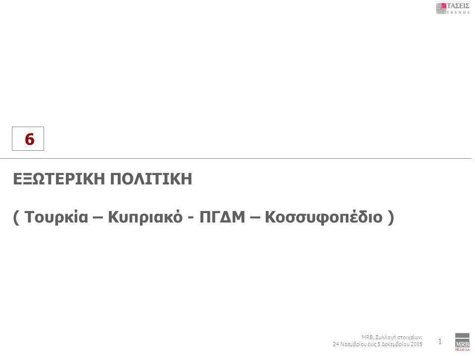 6 MRB, Συλλογή στοιχείων: 24 Νοεμβρίου έως 5 Δεκεμβρίου 2005 Εξωτερική Πολιτική: Τουρκία – Κυπριακό – ΠΓΔΜ - Κοσσυφοπέδιο 1 6 ΕΞΩΤΕΡΙΚΗ ΠΟΛΙΤΙΚΗ ( Τουρκία – Κυπριακό - ΠΓΔΜ – Κοσσυφοπέδιο )