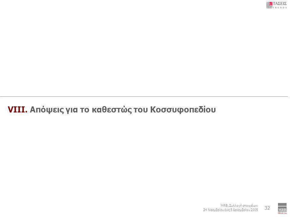 6 MRB, Συλλογή στοιχείων: 24 Νοεμβρίου έως 5 Δεκεμβρίου 2005 Εξωτερική Πολιτική: Τουρκία – Κυπριακό – ΠΓΔΜ - Κοσσυφοπέδιο 32 VIIΙ. Απόψεις για το καθε