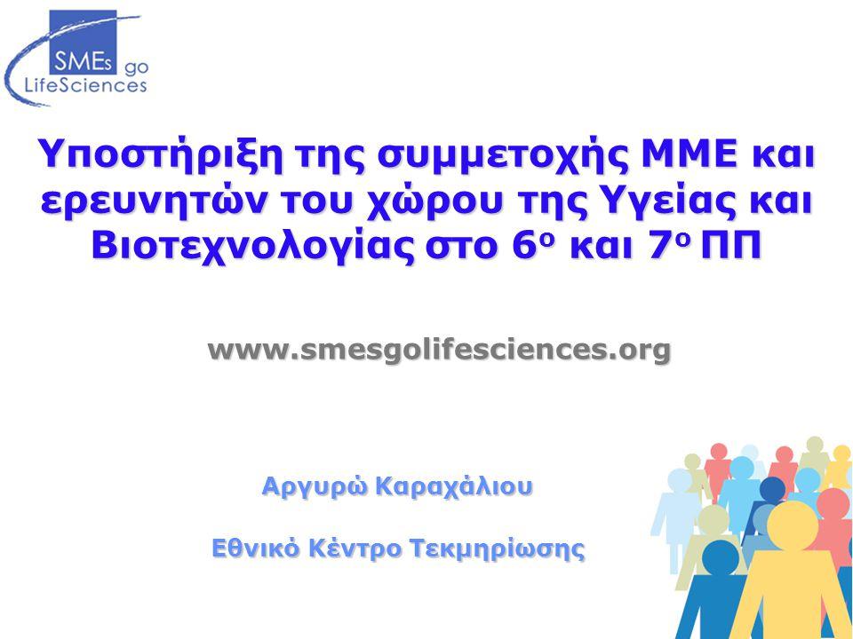 Υποστήριξη της συμμετοχής ΜΜΕ και ερευνητών του χώρου της Υγείας και Βιοτεχνολογίας στο 6 ο και 7 ο ΠΠ www.smesgolifesciences.org Αργυρώ Καραχάλιου Εθνικό Κέντρο Τεκμηρίωσης